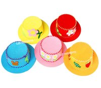 Wholesale DIY Craft Kit Children Gift Felt Hat with nonwoven sheets knitting wool needle and sticker sets LA0414