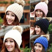 Wholesale Women Winter Warm Braided Crochet Knitting Hat Girl Beret Ski Beanie Ball Cap T3A