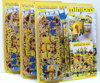 Wholesale New Minions stationery set student children cartoon pencil cases box Supplies best gift DHL
