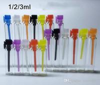 Tester perfume Prix-Flacon de parfum de verre de 1ML 2ML 3ML mini, flacon liquide d'échantillon de parfum, bouchon coloré 1000pcs / lot de tube de bouteille de testeur par DHL Livraison gratuite