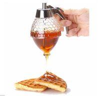 Wholesale Hot Creative Home Acrylic Honey Pot Push Pure Natural Honey Spice Jar Biscuit Bread honey spoon Jam Bottle honey dipper
