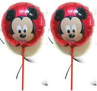 Wholesale inch Mickey Mouse Balloon foil ballon with sticks Air Balls kids Toy mickey mouse party supplies classic toys