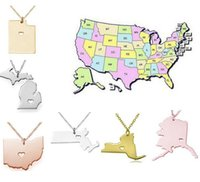 diy chain - America State Map Pendant Necklaces With Heart DIY State Pendent Necklace Stainless Steel Jewelry Alaska State New York State