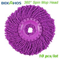 Cheap Regular 360 Rotating Spin Mop - Replacement 10 Mop Heads - Purple
