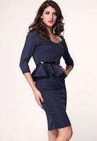 career wear - office lady Dress vestido plus size XL Career Work Wear Dress Long Sleeve Belted Winter Autumn Cocktail Party Peplum Midi dress