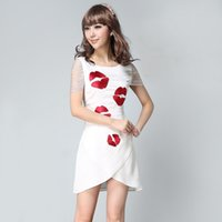 Wholesale CQ PREMIER Summer Korean version of the new short sleeved round neck exposed collarbone ribbon waist was thin dress