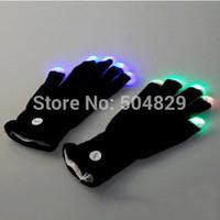 Wholesale pair concert concert LED Gloves Rave light show fingers Colorful Lighting flashing light up glove
