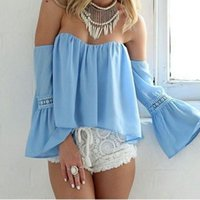 Wholesale Sexy Women Blue Chiffon Bardot Blouse Top Off Shoulder Sweetheart Crop Top Summer Bell Sleeve Loose Casual Shirt Clubwear Blouses HMF0334