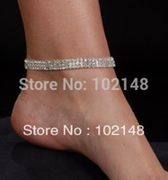 Wholesale dancer showgirl anklet stretch foot bracelet row rhinestone silver plated