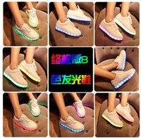 Cheap New Seven Kinds Color light shoes men's and women's luminous shoes fluorescent lights in the spring and autumn season USB charging LED shoes