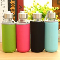 glass water bottle - ml Portable Mini Glass water Bottle Travelling Outdoor Sports Water Bottle Drinking Bottle Teacup with Lid and Bottle Cover