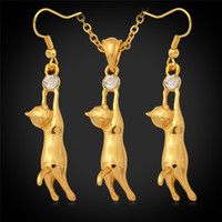 Wholesale Lovely K Gold Plated Cute Kitty Cat Pendant Earrings Rhinestone Fashion Jewelry Set Jewellery Gift For Kid Girl YS644