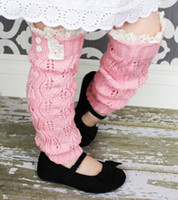Wholesale 2016 Children Baby Boot Cuffs Stocking Socks Fashion Lace Button Leg Warmers Warm Up Wool Knitted Booty Winter Gaiters Boot Covers