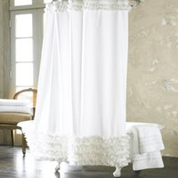 shower curtain - Home Decoration Bathroom Shower Curtain Waterproof Moldproof Solid Polyester Fabric Lace Bath Curtain Elegant Cortina Hooks