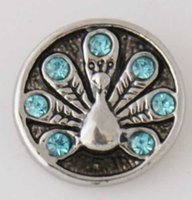 Wholesale 20MM silver peacock with blue stones snap buttons for snap bracelets