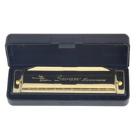 Wholesale Hot Sale Swan Harmonica Holes Key Of C Golden Brand New
