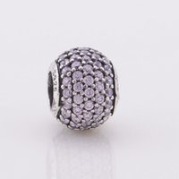 Wholesale 100 Sterling Silver Pink Crystal Charms Beads Suitable for European Pandora Bracelets DIY Jewelry