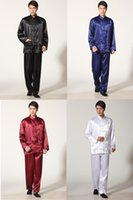 Wholesale Tai chi chinese style top long sleeve tang suit set chinese traditional clothes Kung fu shirt pants kungfu set color M301X