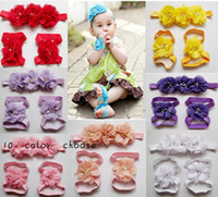 baby foot flower - 10 off Baby Flower elastic Headbands Pearl Barefoot Sandal hairband shoes Baby Foot Flower first walker Shoes
