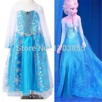 Wholesale dresses fashion In Stock Girl Frozen Princess Queen Elsa Anna Cosplay Costume Fancy Dress Y maxi dresses