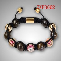 achat en gros de bijoux perceuse à main-Shamballa chaud réglable vend Bracelet Nialaya Perle 12mm Perles fait main avec des boules en alliage cz percez Bracelets usine de bijoux