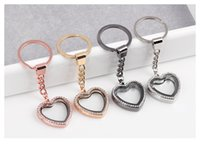 Glass magnetic pendant - 5pcs color DIY Heart Shaped Magnetic Keychain Floating locket Living Memory Charms Crystal Glass Locket Pendant key Rings chain included