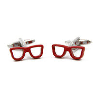 Wholesale Fashion Red Glasses Frames Shaped Cufflinks for men shirt Wedding Cufflink French Cuff Links Fashion Jewelry