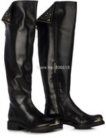 Cheap Black Flat Shoes Best Women Knee High Leather Boots