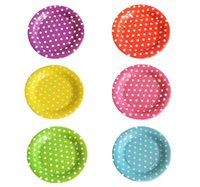 Wholesale 7 quot cake tray paper tray polka dots colors Disposable paper disc cake plate party supplies paper tray party favors