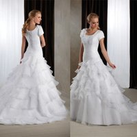Wholesale 2015 modest wedding dresses with sleeves A line short sleeve lace up back organza Wedding dresses with square neck