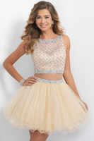 Ball Gown bandage yellows - Two Pieces Homecoming Dresses Short Prom Dresses Champagne Beaded Sweet Dresses Sheer Beach Wedding Party Dresses