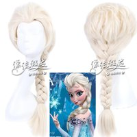 Light Gold Medium Boy Top Quality Elsa Cosplay Wigs Long Braided Hair Synthetic Elsa Hair Wig with Thick Light Color for Party Makeup Frozen Figure Hairs