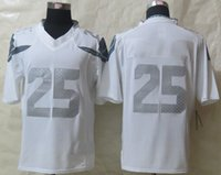 Cheap New Arrival Seahawk #25 Fan Platinum White Limited American Football Jerseys Stitched Authentic Football Uniforms Cheap Sportswear