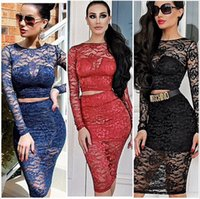 Casual Dresses Crew Neck Long Sleeve 2015 Women Sexy Two Piece Lace Bandage Dress Long Sleeve Black White Red Blue Club Outfits Party Wear DK3008CS