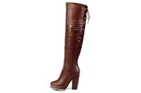 Wholesale Womans Boots Over Knee Long Wedge Boots Winter Boots Warm Hi Cut Boot with thick heel shoes Sexy Boots Womens Online Sale Cheapest Price
