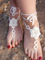 beach bridal jewelry - 2015 Beach wedding White Crochet Wedding Barefoot Sandals Nude Shoes Foot Jewelry Bridal Sexy Yoga Anklet Flip Flops Free Shippping
