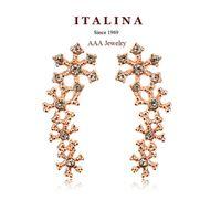Wholesale Austrian Crystal Snowflake Screw Back Earrings Gold Plated Drop Earrings Jewelry