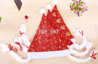 millinery - gold snowflake Christmas Hats moon and stars Christmas millinery Non Woven Christmas Supplies Sweetheart Xmas Red Hats With Plait in stock