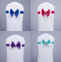 Wholesale Bow Lace Chair Cover Sashes Elastic Sash Chair Covers for Weddings Colors Spandex Sashes for Chairs Banquet Accessories
