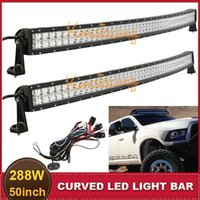 Cheap 50 Inch 288W Curved Offroad Led Light Bar 4WD AWD 4X4 ATV SUV Wagon Van Camper Spot Flood Combo Beam Auxiliary Driving Headlight