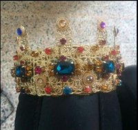 big balls band - Baroque Exaggerated Colored Gem Big Crown Headband Royal Hair Bands Wedding Bridal Hair Accessories