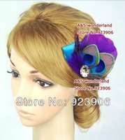 Wholesale stunning peacock purple satin feather hairclip feather Hair Accessories Hair Piece hair Facinator
