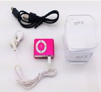book box - 1pc Mini mp3 metal clip MP3 card mp3 with earphones usb cables retail box support Micro SD TF card