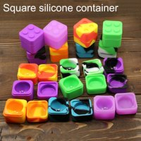 Oil/wax/dry herb holding, cosmetic used square jar - Non stick silicone food grade containers block square wax oil extracts silicone Container jar for Concentrate silicon dab wax box bho oil