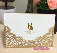 Wholesale Elegant Laser Cut Wedding Invitations Hollow Out Purple Black Gold Wedding Personalized Wedding Cards Wholesal Bridal Party Invitation Cards