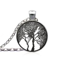 acrylic paintings trees - 2015 NEW Tree of Life Necklace Pendant Jewelry Vintage Painting Silver Family Christmas Style Charm Jewellery Gift