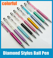 rhinestone pen - 2 in Crystal Diamonds Rhinestone Capacitive Touch Metal Stylus Ball Pen Clip Design Ballpoint Pen for iPhone iPad Tablet Samsung STY007