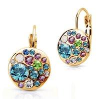 big button earrings - 2015 Fashion Jewelry Classic Earrings Austrian Crystal Colorful Earring Big Button Jewelry E333 B6