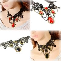 Wholesale Lace Flowers Red Black Boutique Flour Nemstones Pendant Big Girls Collar Necklace Fashion Grace Wedding