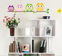 Wholesale 4 Colorful Owls Butterfly Baby Kids Nursery Decals Wall Sticker Decor Vinyl A wr